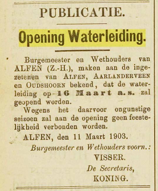 Waterleiding Voor Alphen