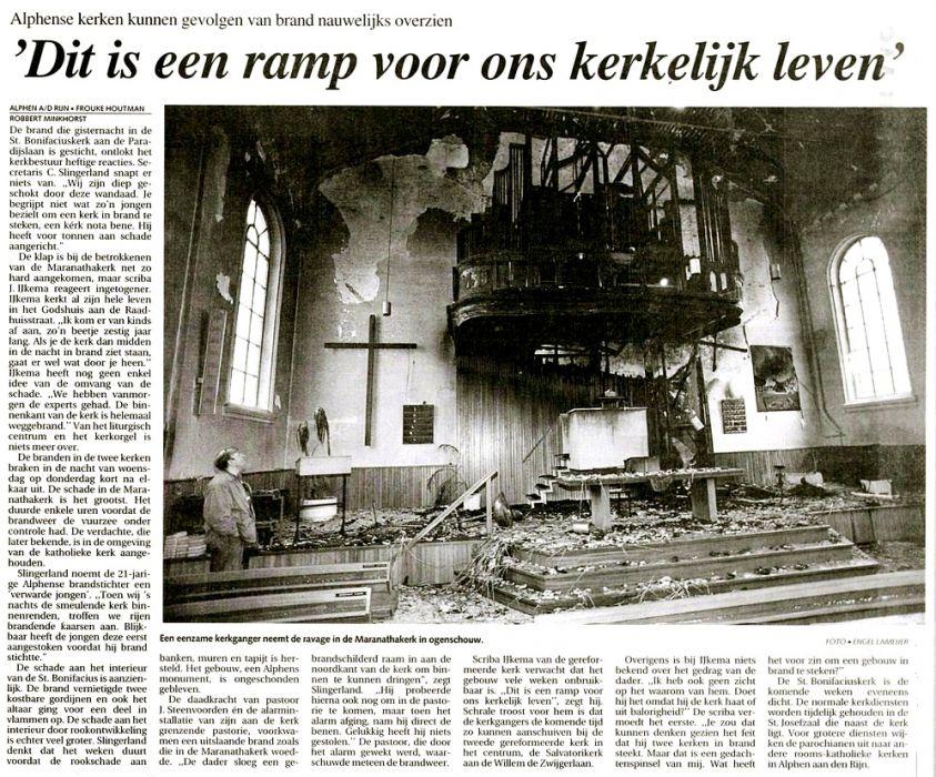 Brandstichting Maranathakerk En Bonifaciuskerk